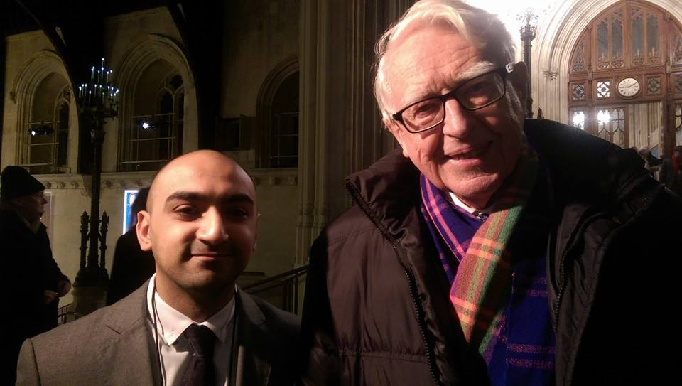 Conscience's Communications Assistant Zaheer Rayasat with Sir Richard Jolly.